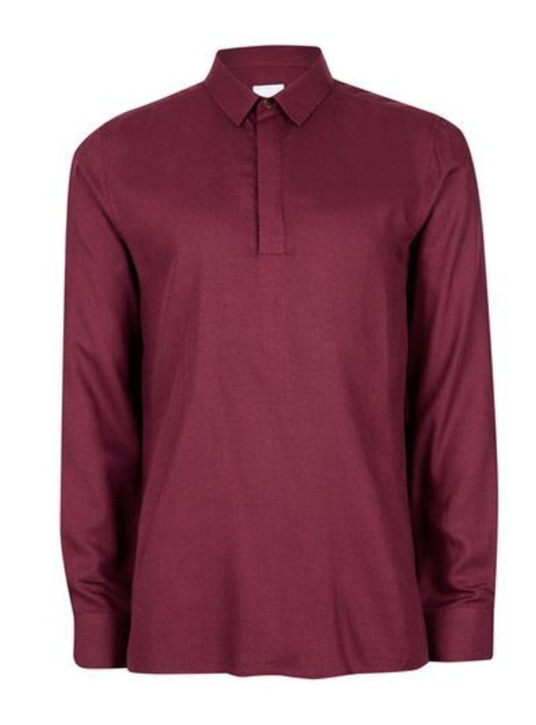 Mens Red TOPMAN PREMIUM Ruby Overhead Shirt containing Wool, Red