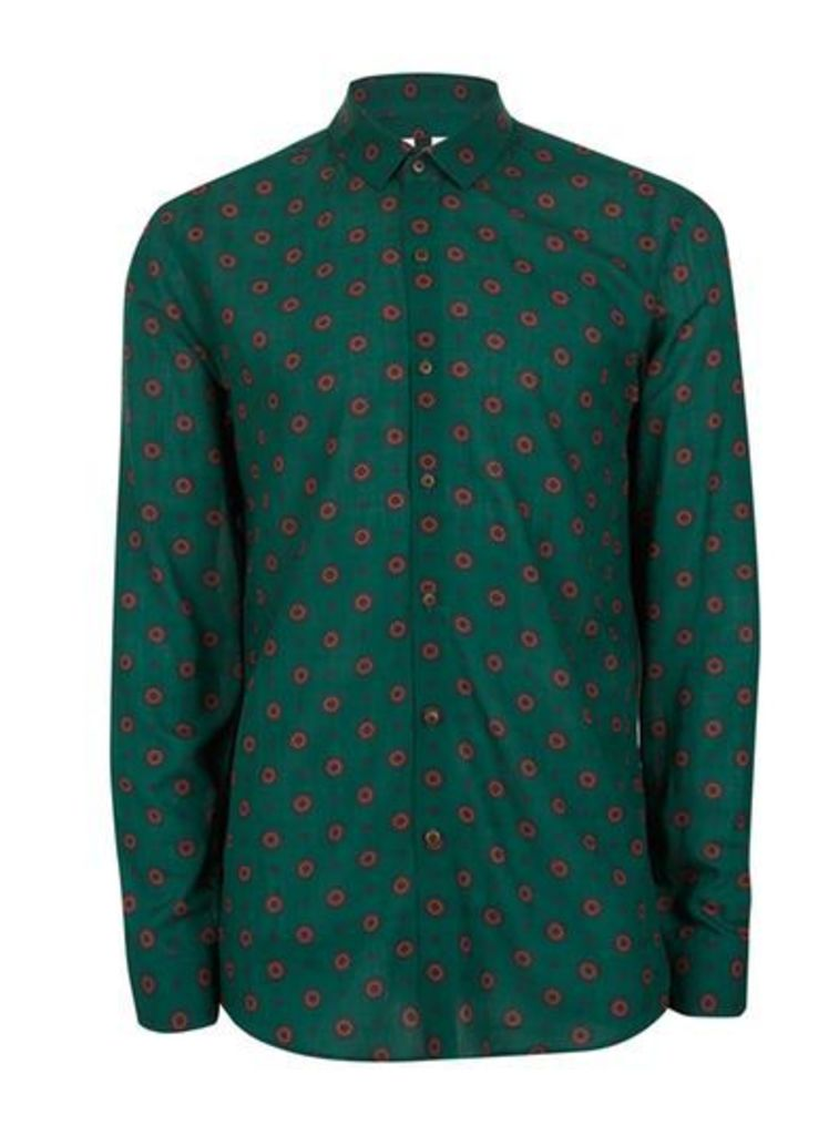 Mens Forest Green and Red Geo Print Casual Shirt, Green