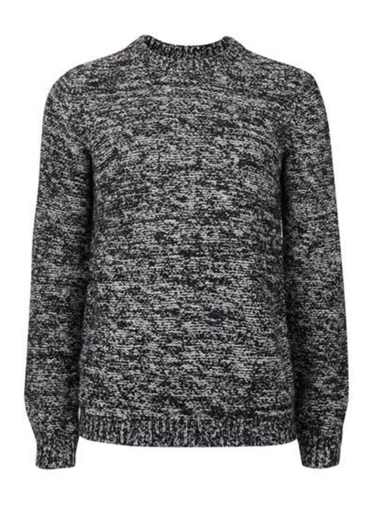 Mens Black and White Fuzzy Texture Slim Fit Jumper, Black