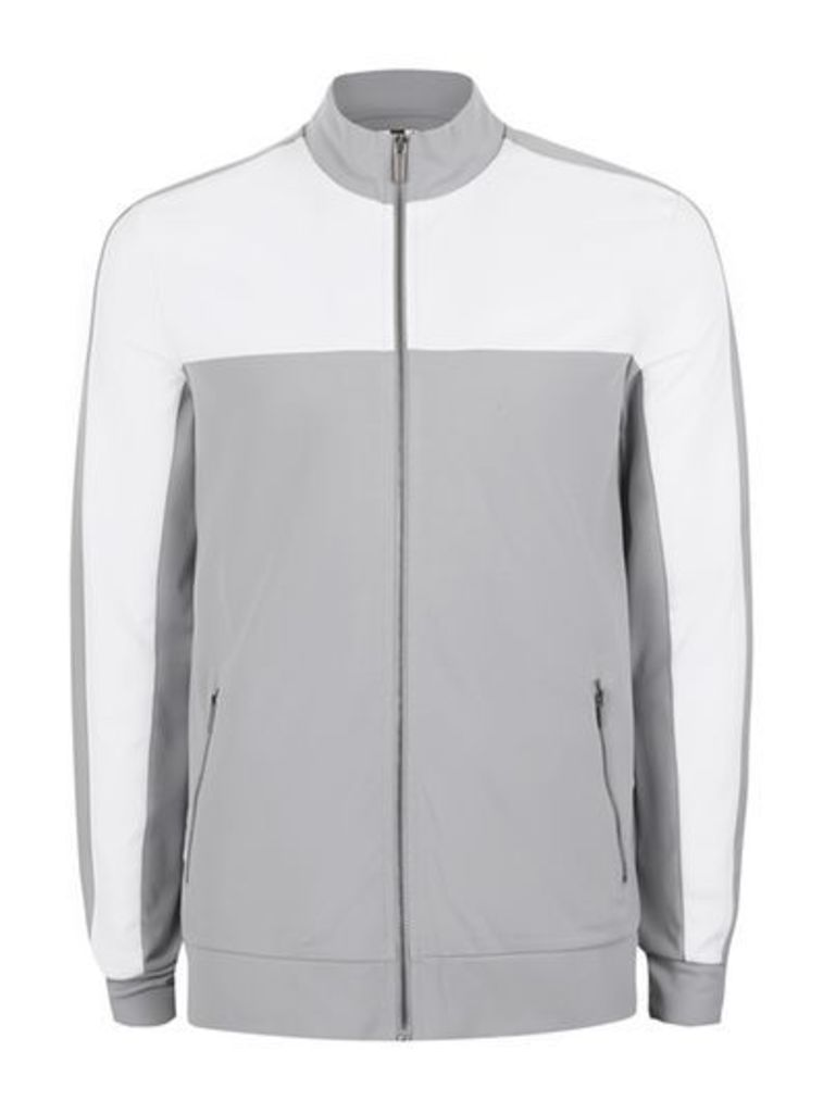 Mens Mid Grey Grey and White Track Top, Mid Grey