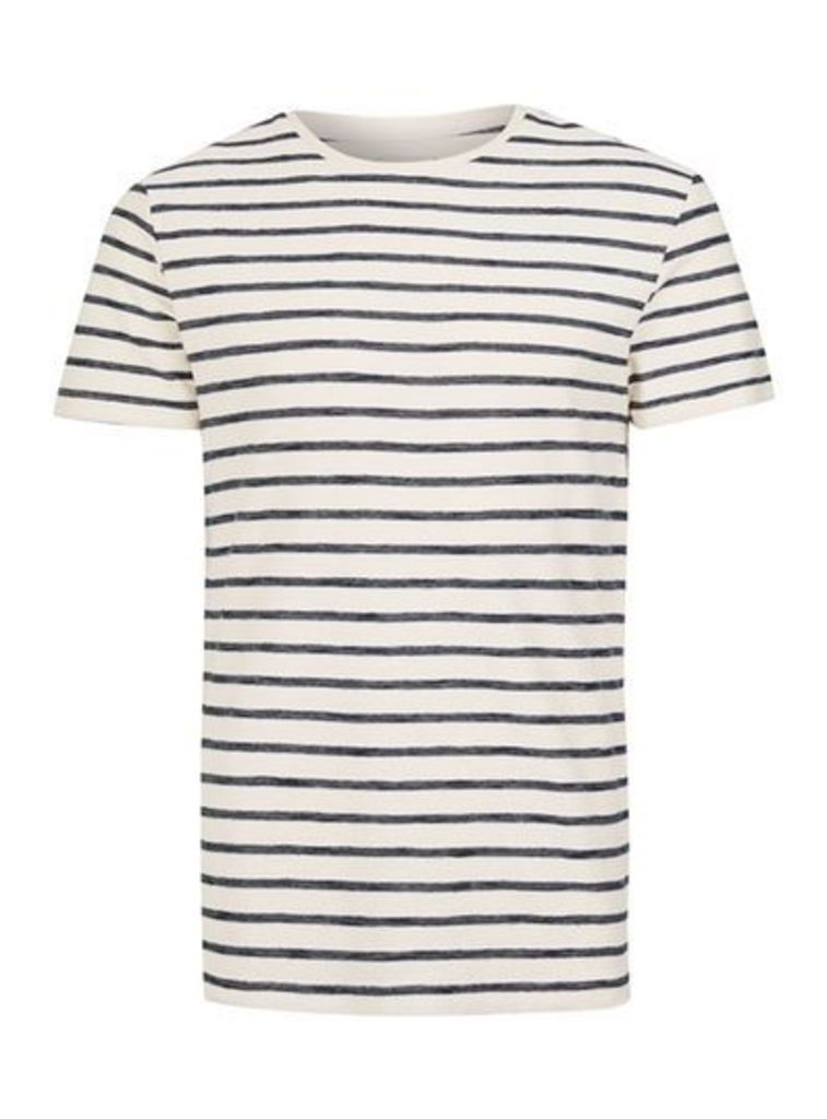 Mens Blue SELECTED HOMME Navy and Off White Stripe T-Shirt, Blue