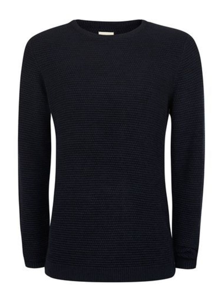 Mens Blue SELECTED HOMME Navy Waffle Textured Jumper, Blue