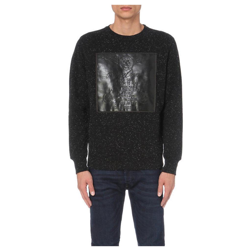DIESEL S-joe rubber-panel cotton-jersey sweatshirt, Men's, Size: Medium, Black
