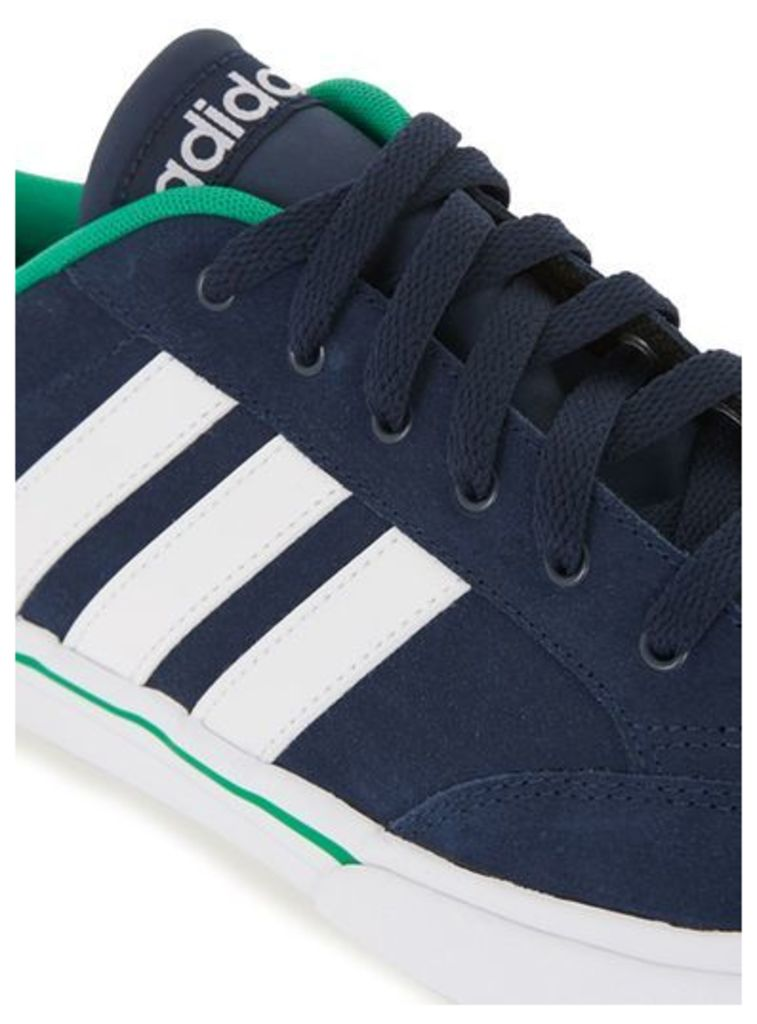 Mens Blue adidas Navy, Green and White Stripe GVP Trainers, Blue