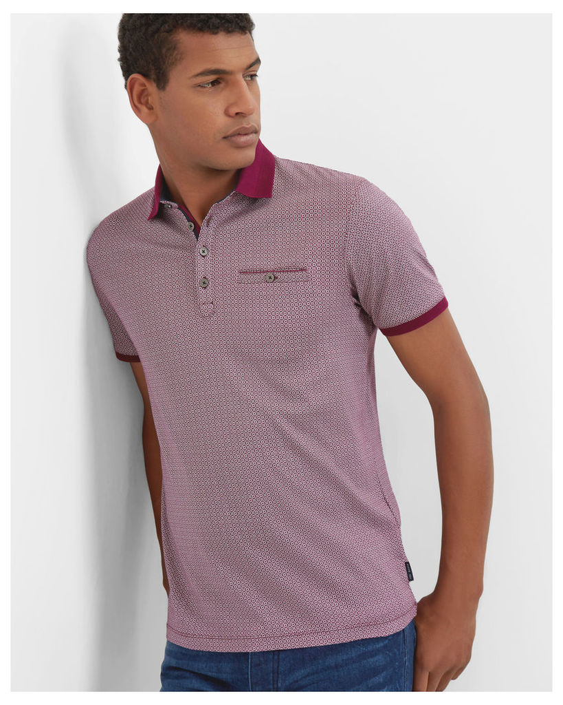 Ted Baker Geo print cotton polo shirt Purple