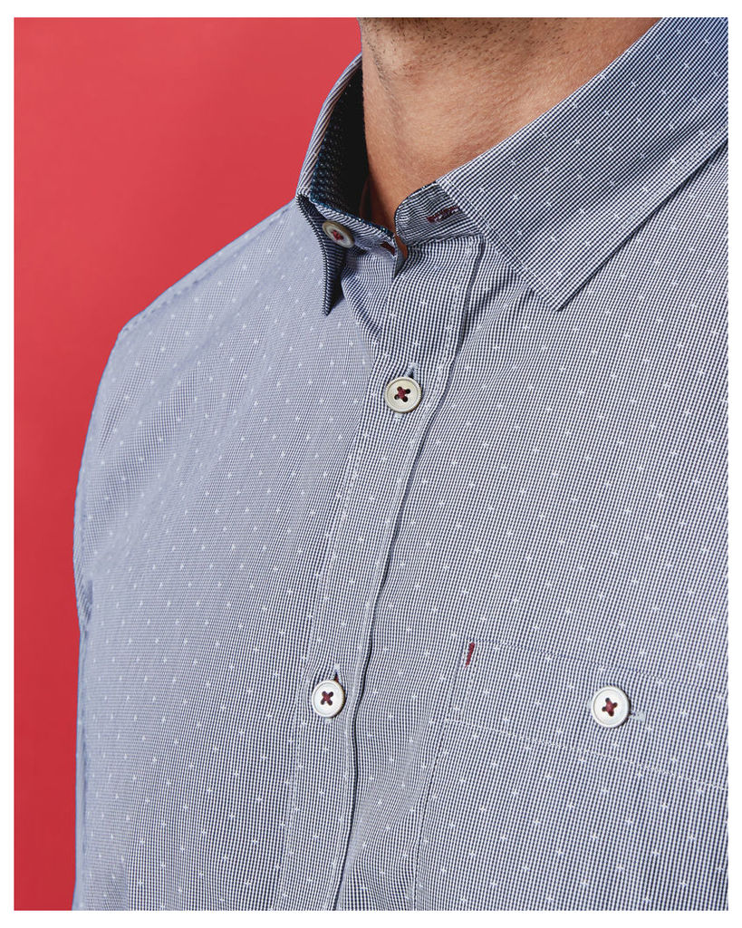 Ted Baker Micro design cotton shirt Navy