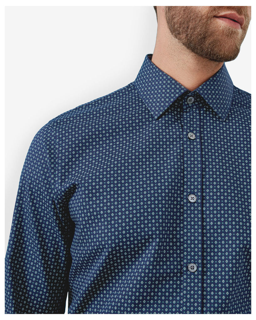 Ted Baker Geo print cotton shirt Navy