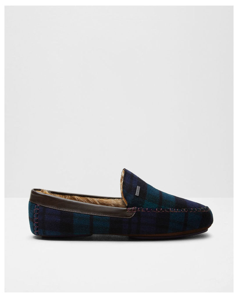 Ted Baker Contrast stitching moccasin slippers Dark Green
