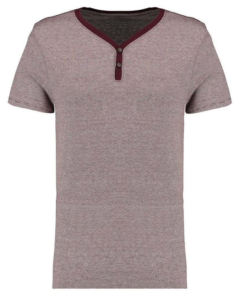 Men's Blue Inc Maroon Everyday Basic Microstripe Y Neck T-shirt, Red