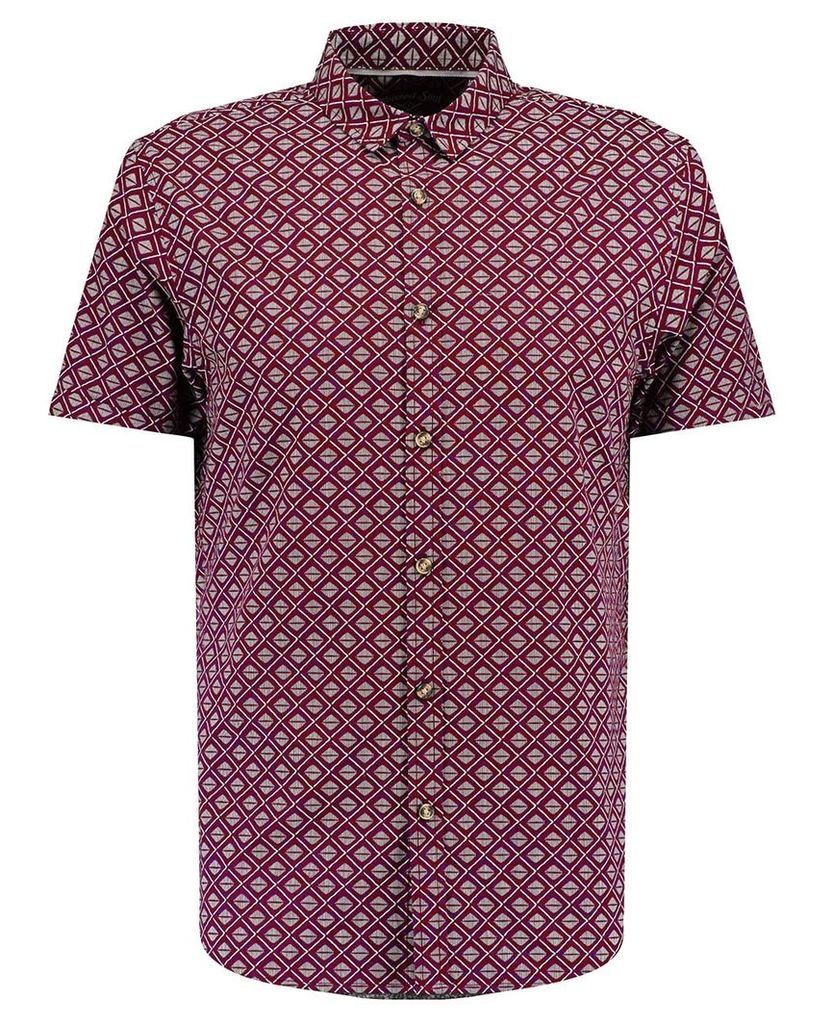 Men's Blue Inc Maroon Short Sleeve Abstract Print Shirt, Red