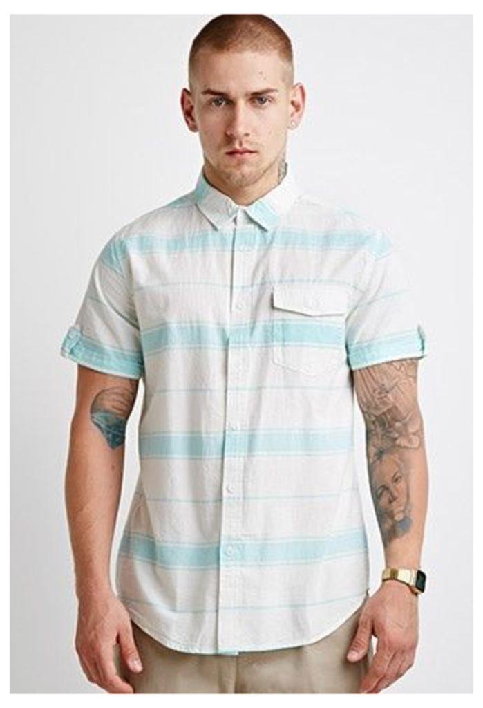 Striped Button-Tab Shirt