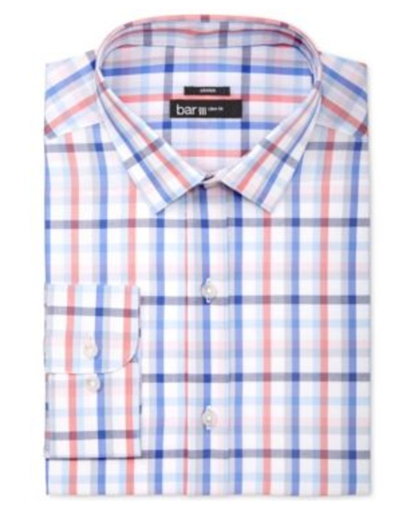 Bar Iii Men's Slim-Fit Coral Blue Check Dress Shirt, Only at Macy's