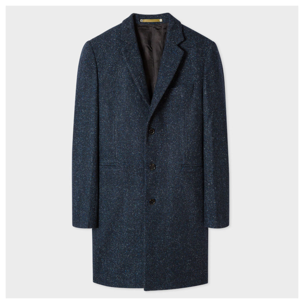 Men's Navy Wool-Silk Flecked Herringbone Overcoat
