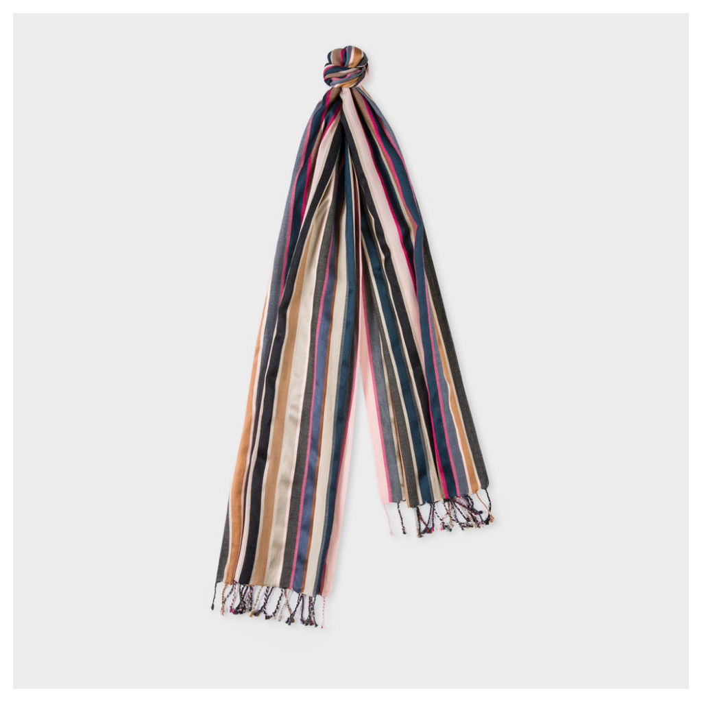 Men's Brown And Pink Striped Silk-Blend Scarf