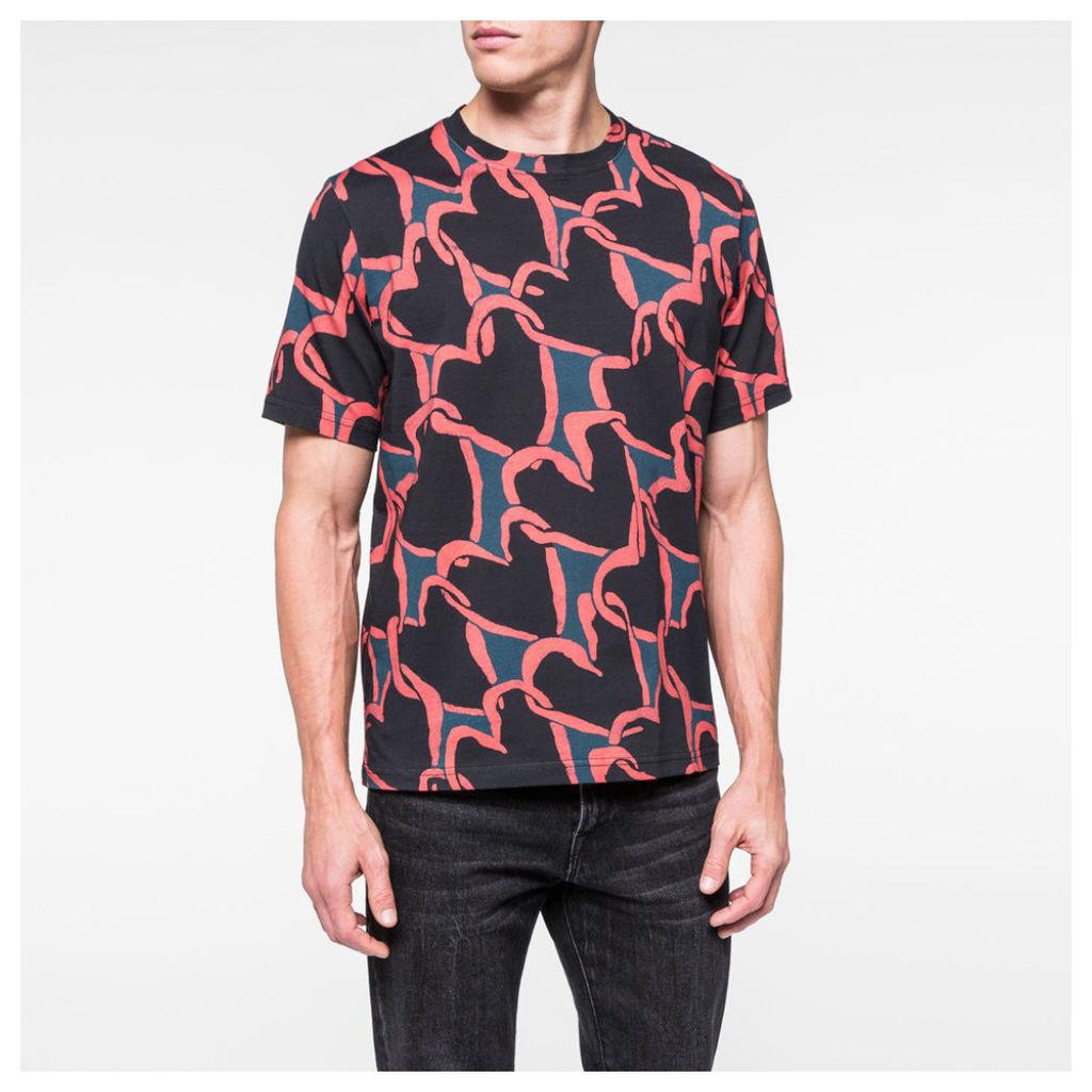 Men's Red 'Chain-Link Heart' Print T-Shirt