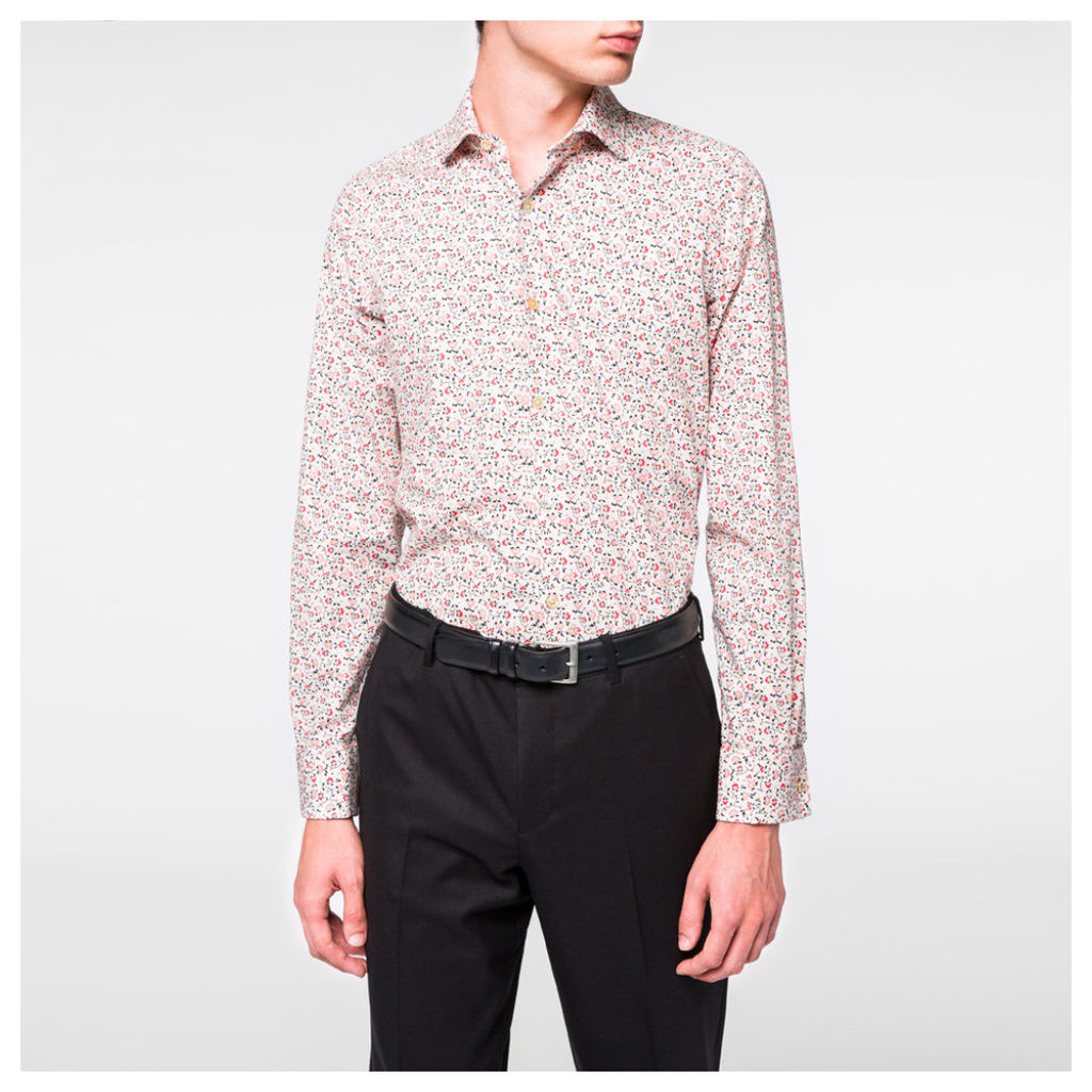 Men's Tailored-Fit Pink Floral Double-Cuff Shirt