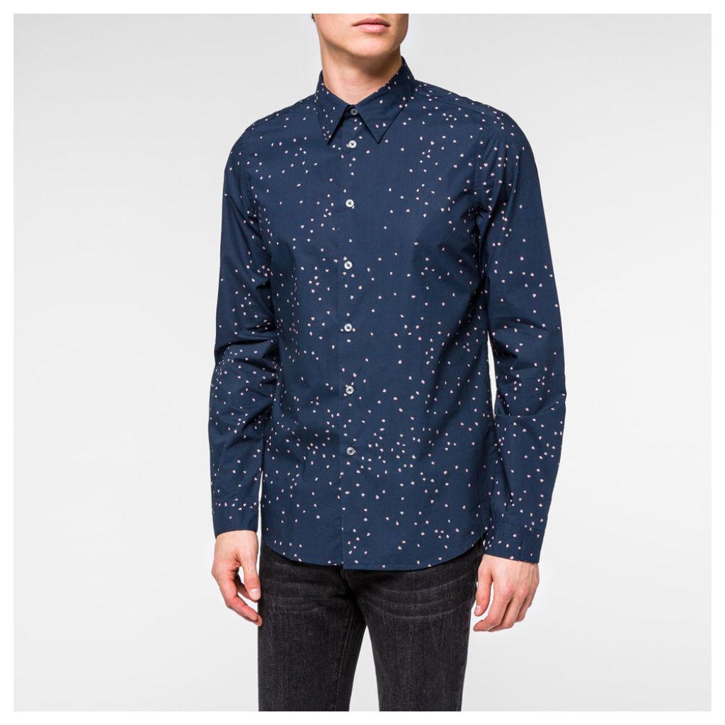 Men's Slim-Fit Navy 'Hearts' Print Shirt