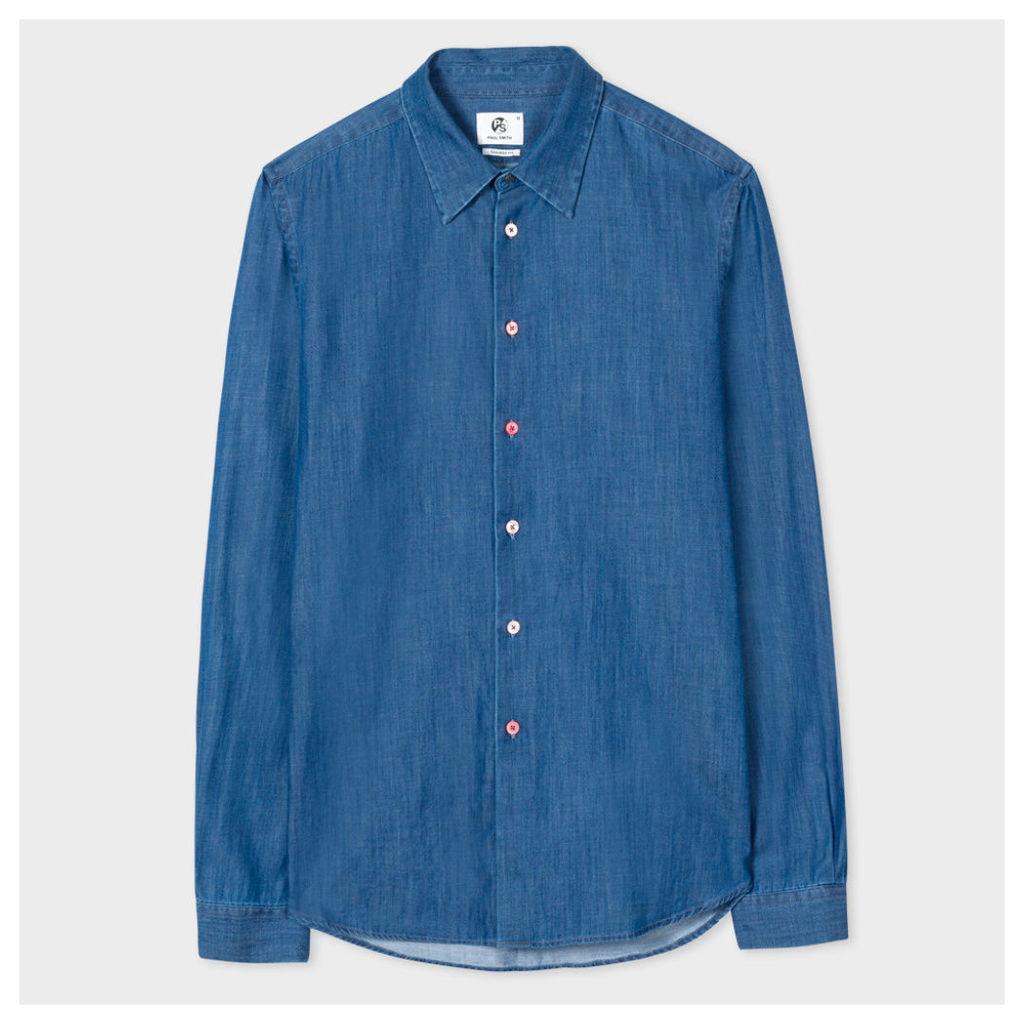 Men's Tailored-Fit Indigo-Dyed Mid-Wash Cotton-Denim Shirt
