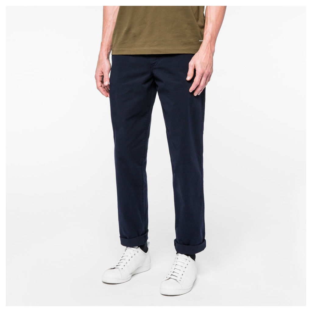 Men's Tapered-Fit Navy Garment-Dye Pima-Cotton Stretch Chinos