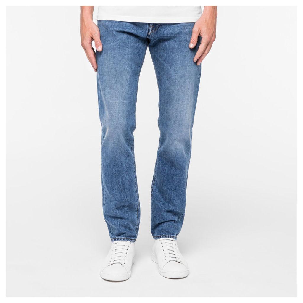 Men's Slim-Standard Fit Light-Wash Italian Selvedge Jeans