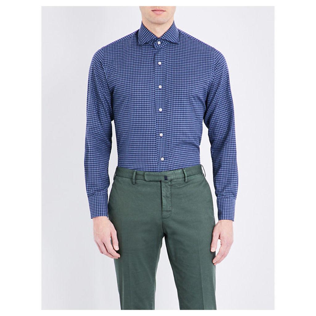 Emmett London Slim-Fit Gingham-Print Cotton Shirt, Men's, Size: Small, Blue