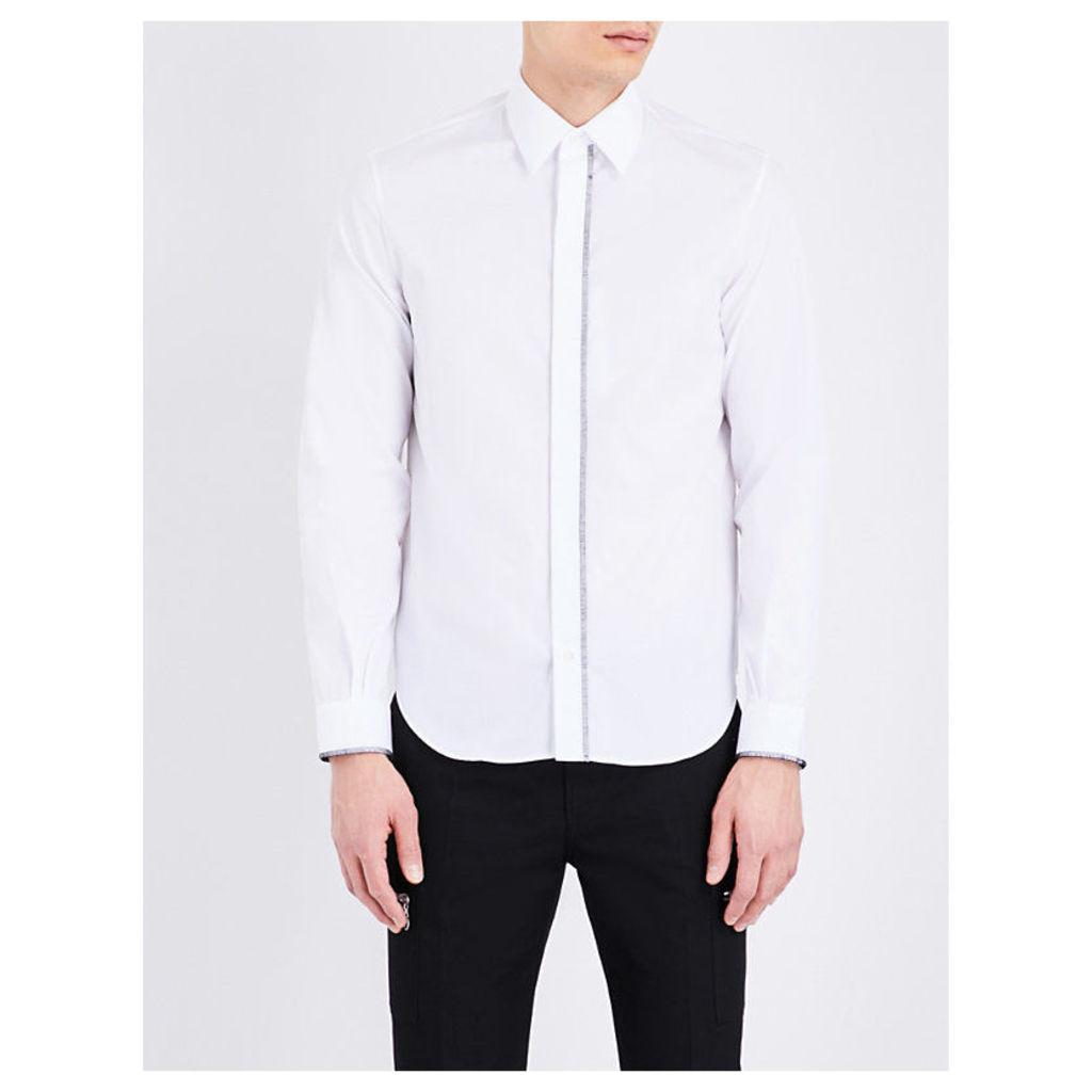 Maison Margiela Loose-Fit Cotton-Poplin Shirt, Men's, Size: 15.5, White Cuff Foxes