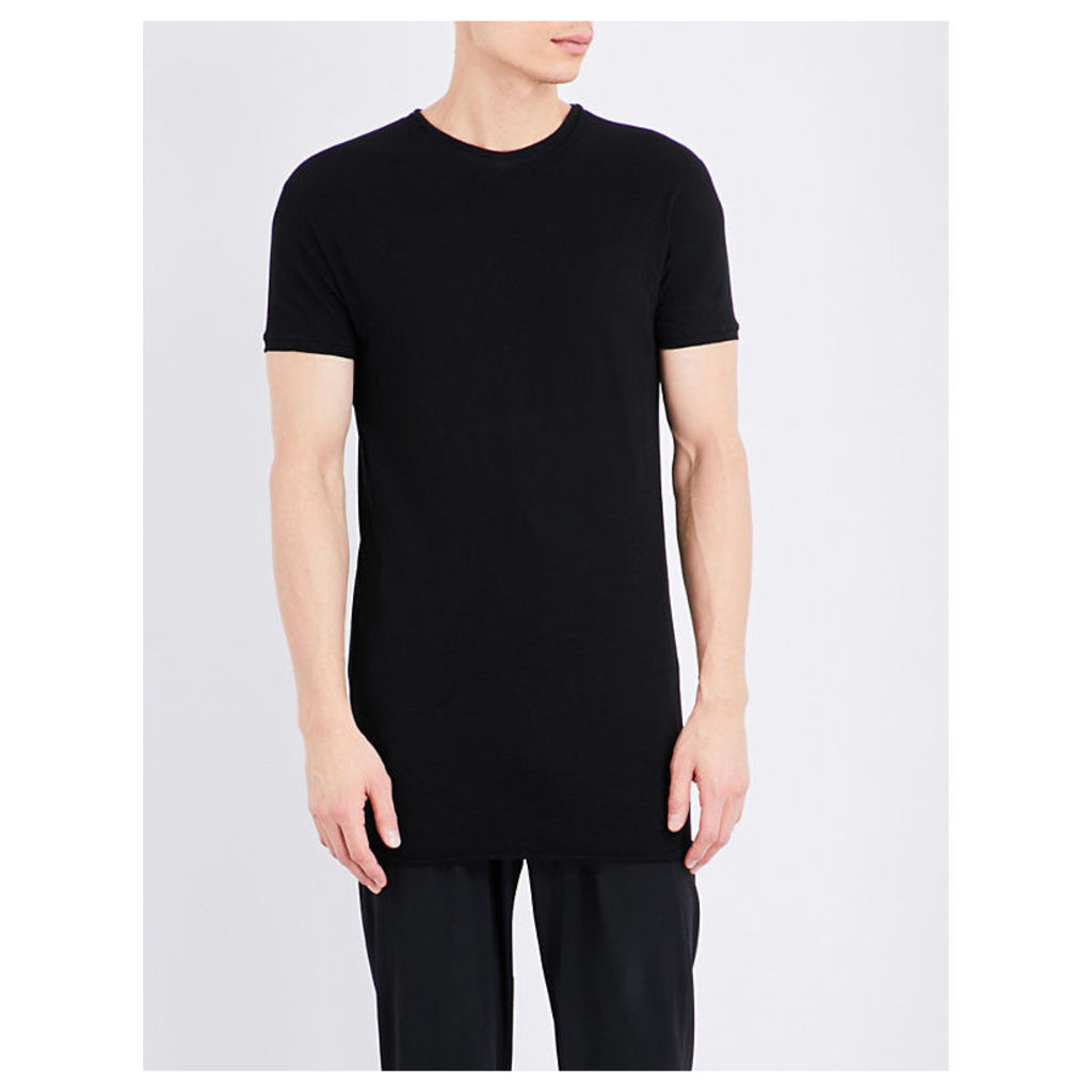Isabel Benenato Longline Cotton-Jersey T-Shirt, Men's, Size: Medium, Black