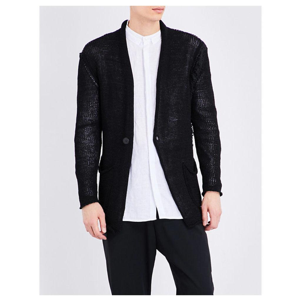 Isabel Benenato Collarless Knitted Cardigan, Men's, Size: Small, Black