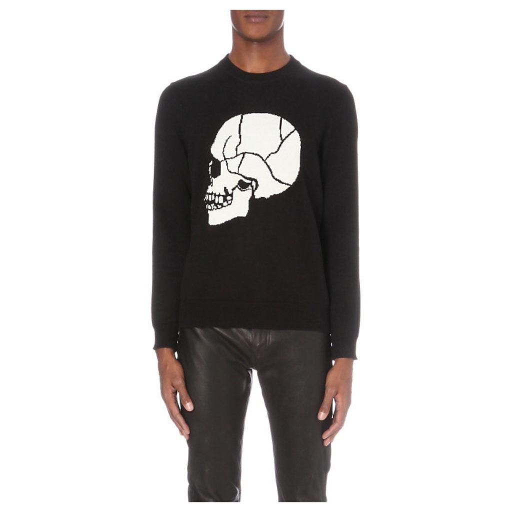The Kooples Skull-Front Knitted Jumper, Men's, Size: XS, Black