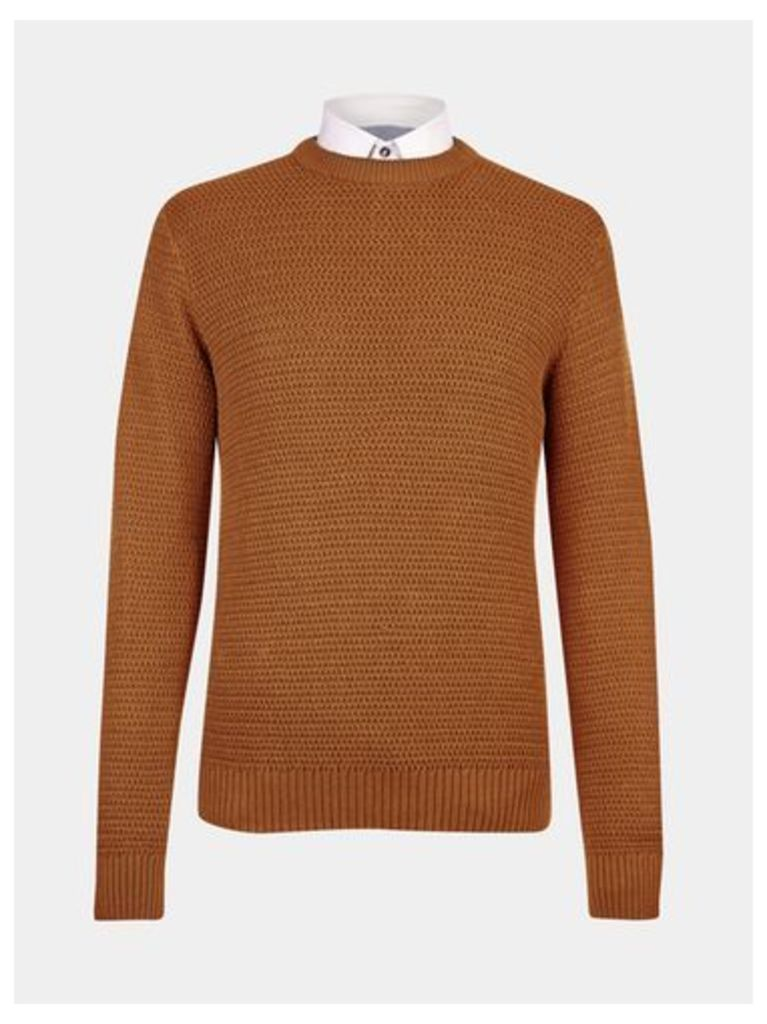 Mens Ginger Textured Knitted Jumper, BROWN
