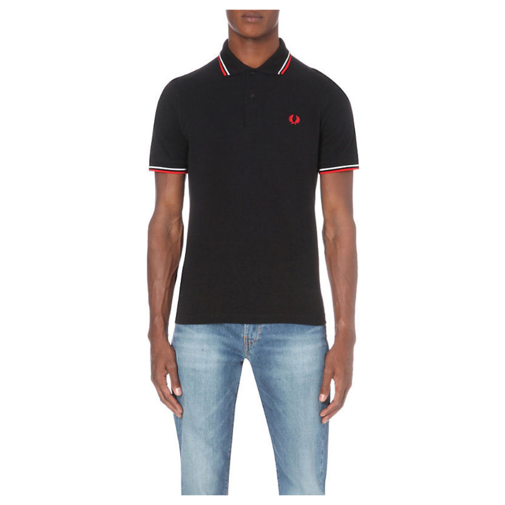 Fred Perry M12 Twin Tipped Cotton-Piqué Polo Shirt, Men's, Size: 42, Black/White/Bt.Red