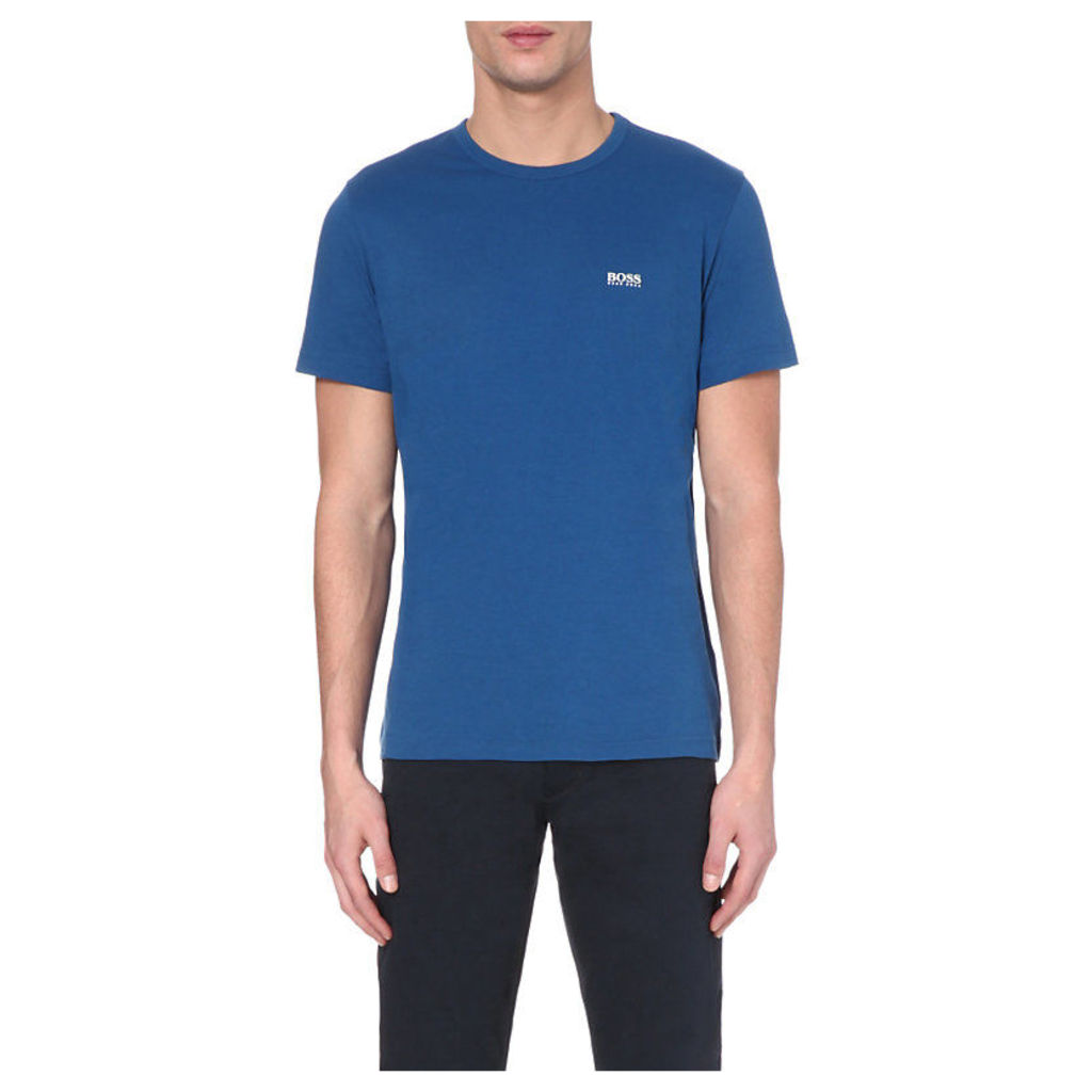 Hugo Boss Branded Cotton-Jersey T-Shirt, Men's, Size: Medium, Blue/Grey