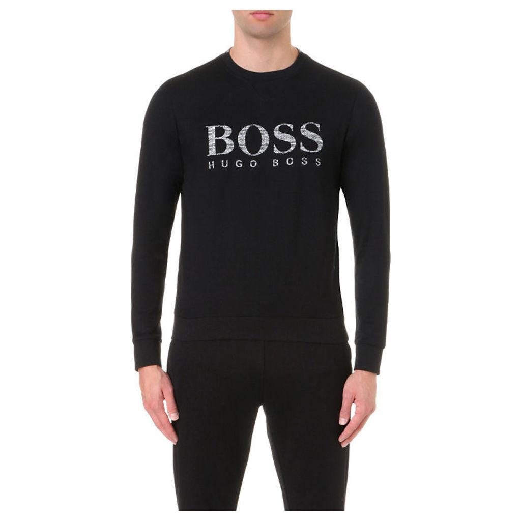 Hugo Boss Logo Print Cotton-Blend Jumper, Men's, Size: XL, Black