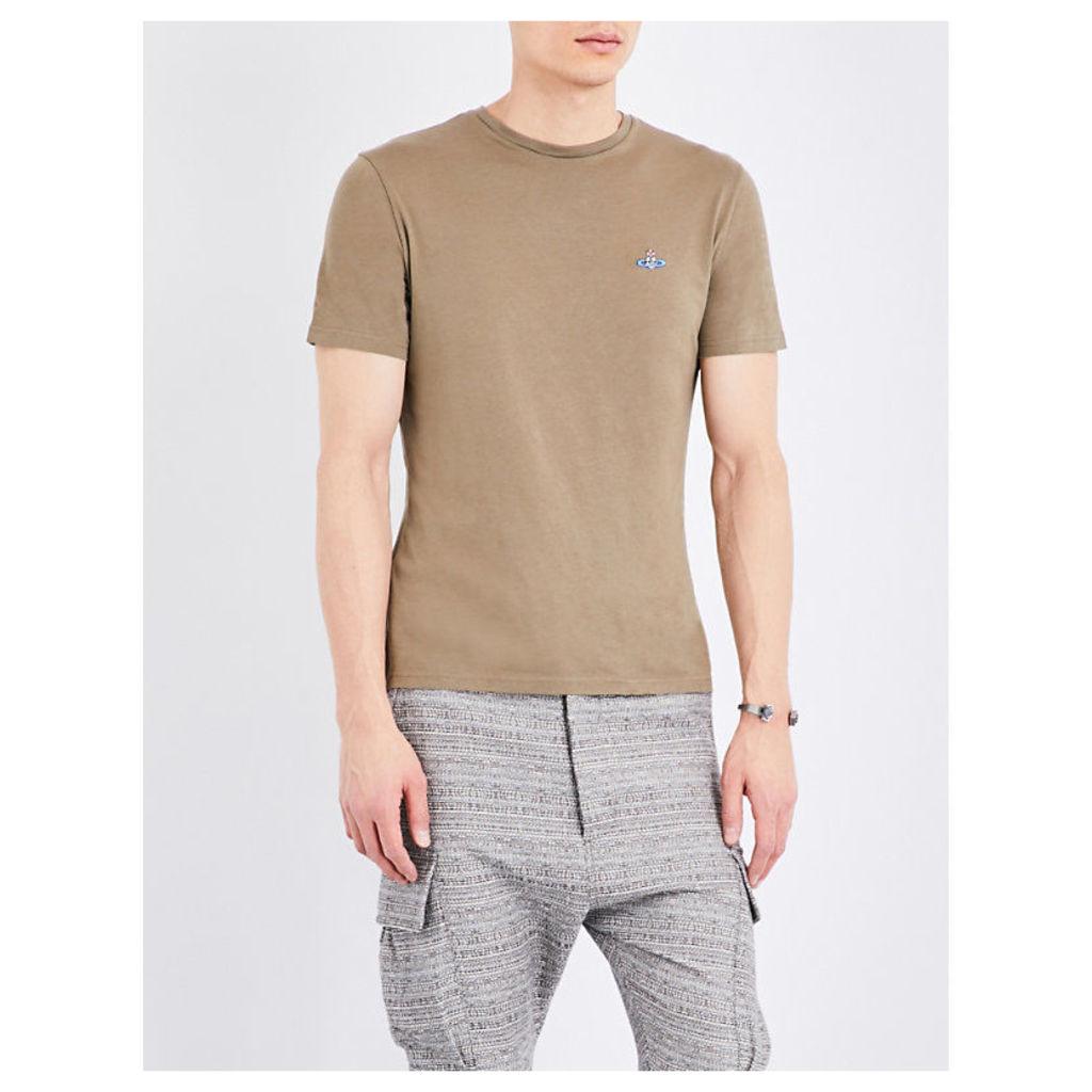 Vivienne Westwood Brand-Logo Crewneck Cotton-Jersey T-Shirt, Men's, Size: XXL, Green