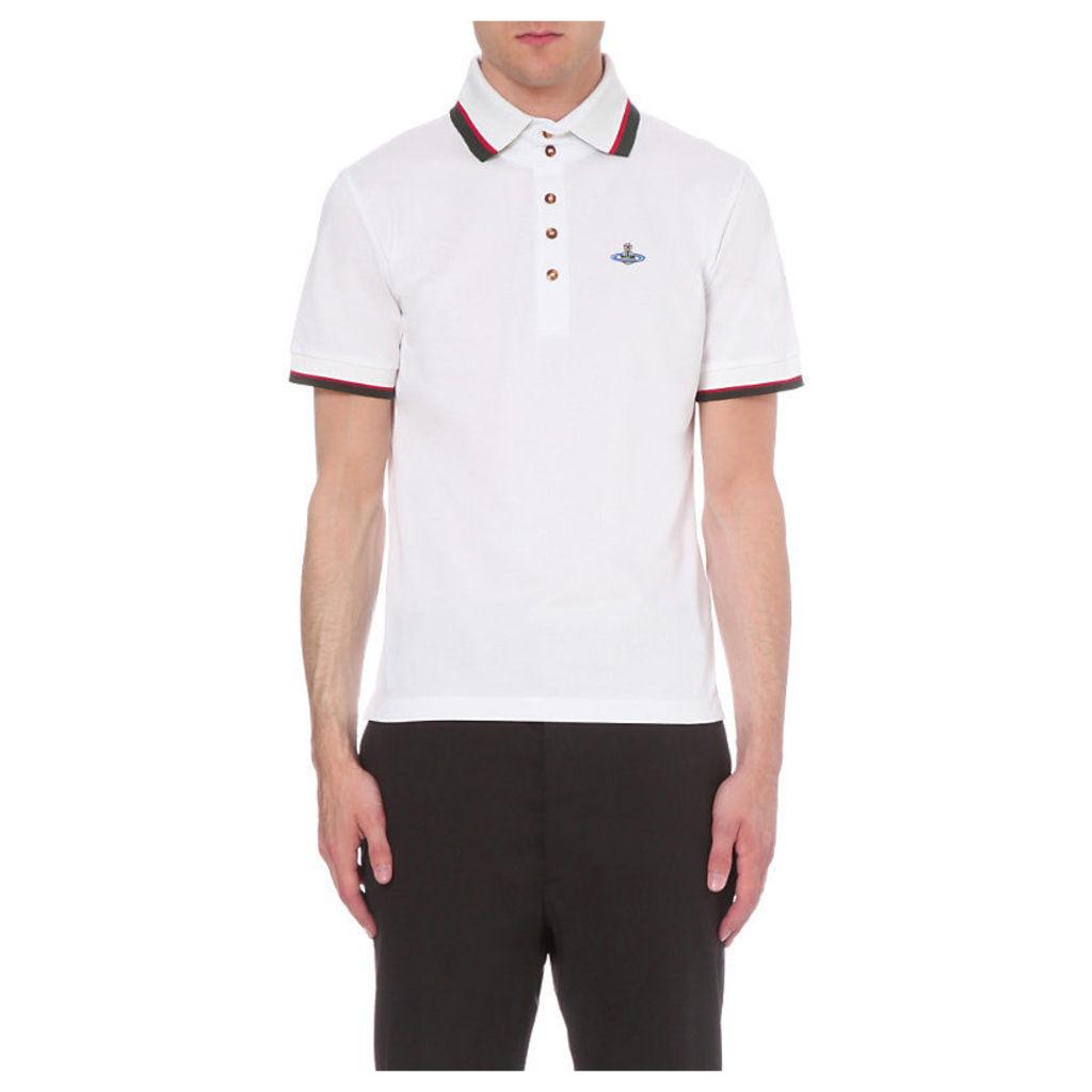 Vivienne Westwood Striped-Trim Cotton-Piqué Polo Shirt, Men's, Size: XS, White
