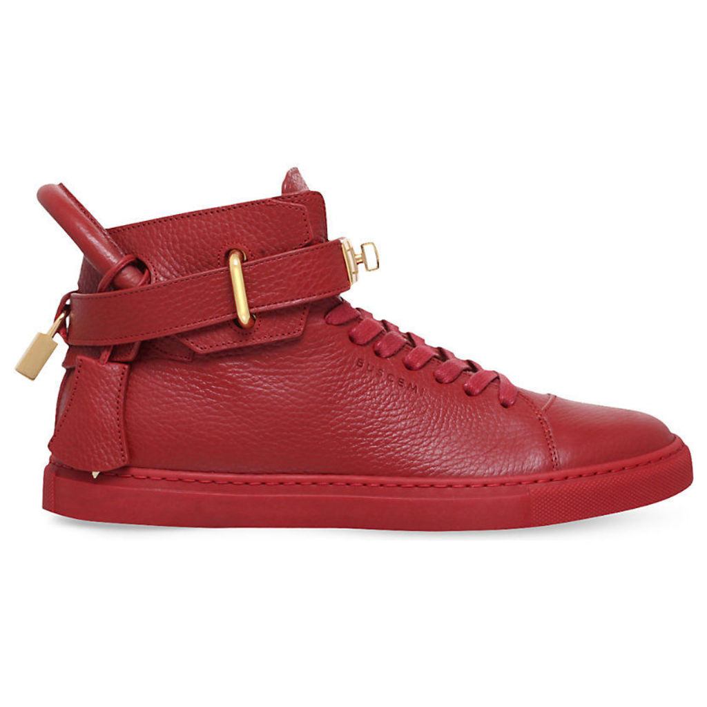 Buscemi 100mm Grained-Leather Trainers, Men's, EUR 40 / 6 UK MEN, Red