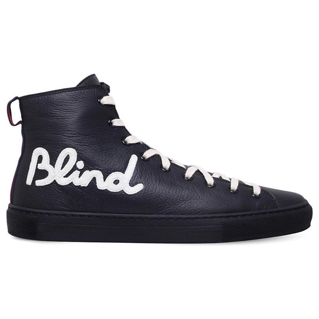 Gucci Major Blind for Love Leather High-Top Trainers, Men's, EUR 41 / 7 UK MEN, Black