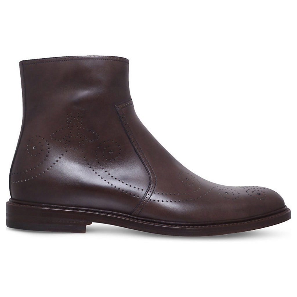 Gucci Bee Broguing Leather Ankle Boots, Men's, EUR 42 / 8 UK MEN, Dark Brown