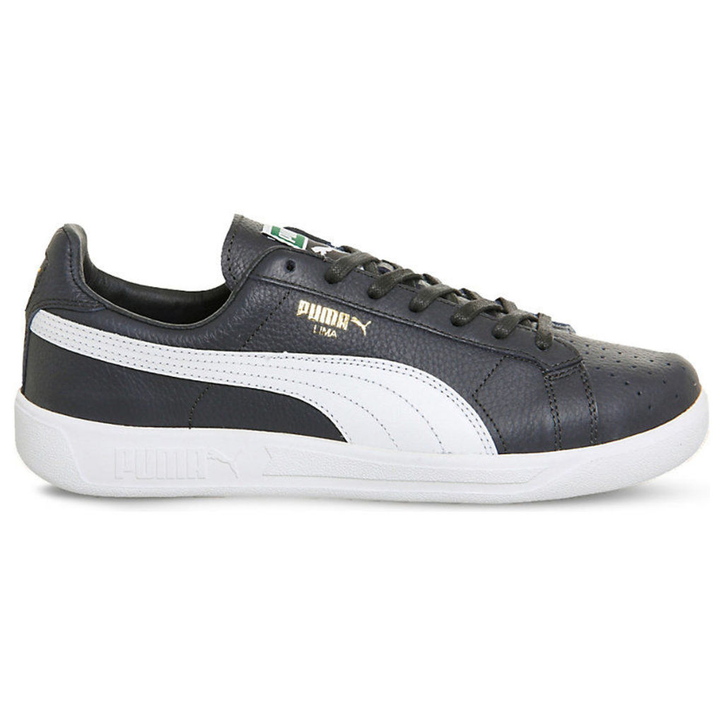 Puma Lima Logo-Detail Leather Trainers, Men's, 11, New Navy Pure White