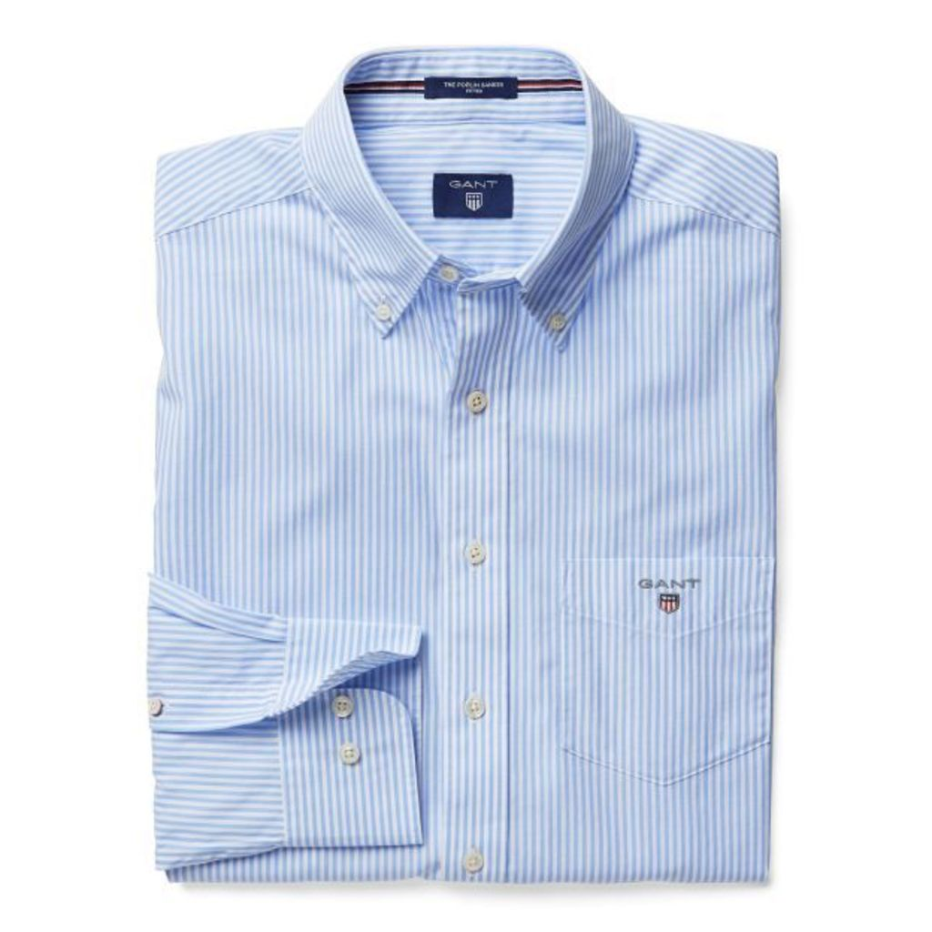 Banker Striped Fitted Shirt - Hamptons Blue