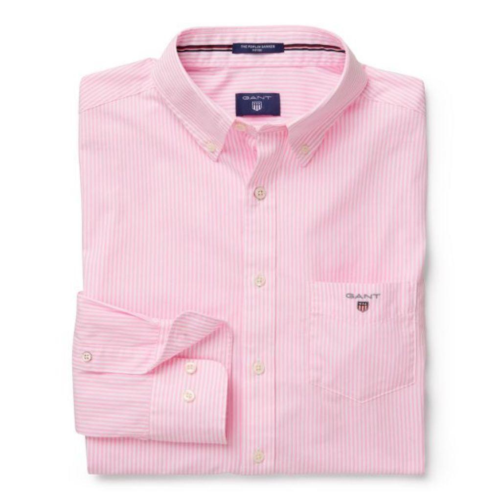 Banker Striped Fitted Shirt - Primrose Pink