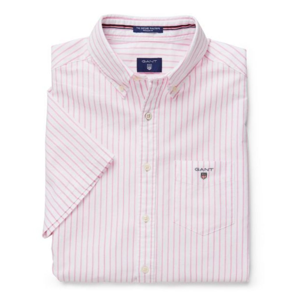 The Short Sleeve Oxford Pinstripe Shirt - Summer Coral