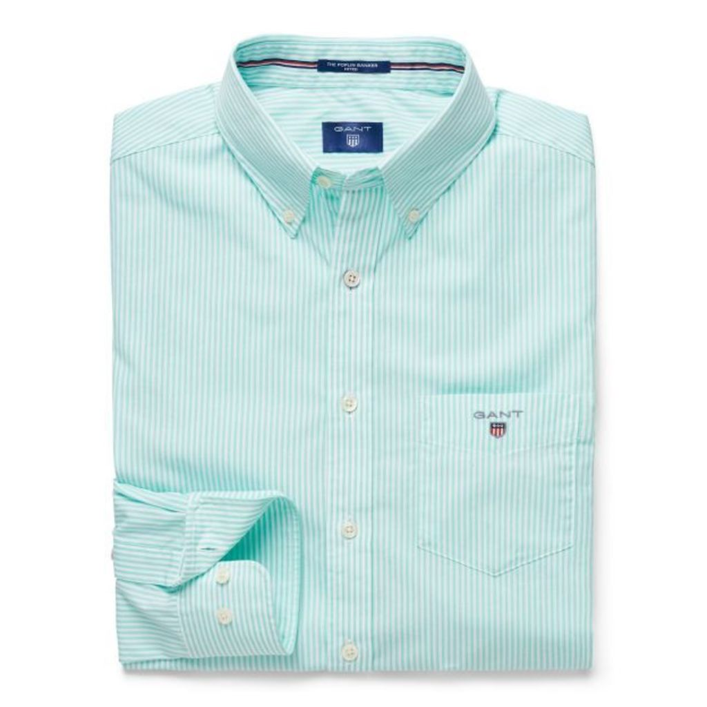 Banker Striped Fitted Shirt - Jasmine Green