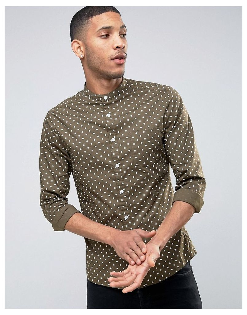 ASOS Skinny Shirt With Grandad Collar In Polka Dot - Khaki