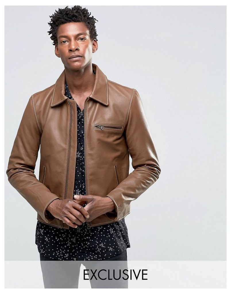 Black Dust Leather Jacket With Zip Detailing - Tan