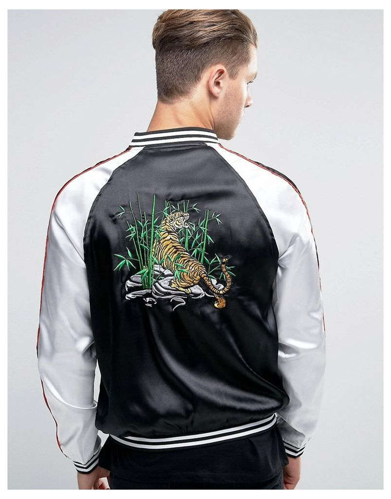 Liquor & Poker Embroidered Souvenir Bomber Tiger - Black