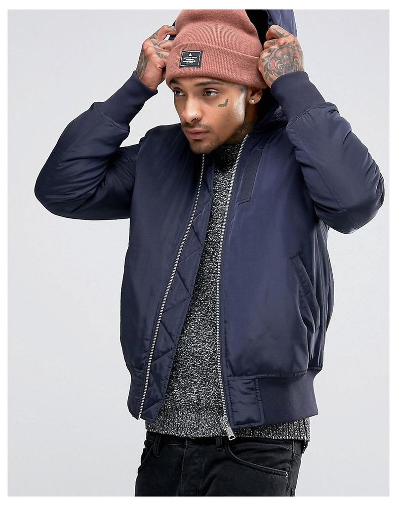 ASOS Hooded Bomber Jacket With MA1 Pocket In Navy - Navy