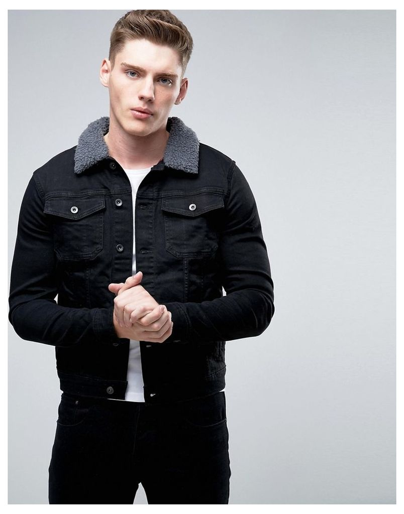 Another Influence 4 Pocket Jacket with Contrast Top Stitch - Black