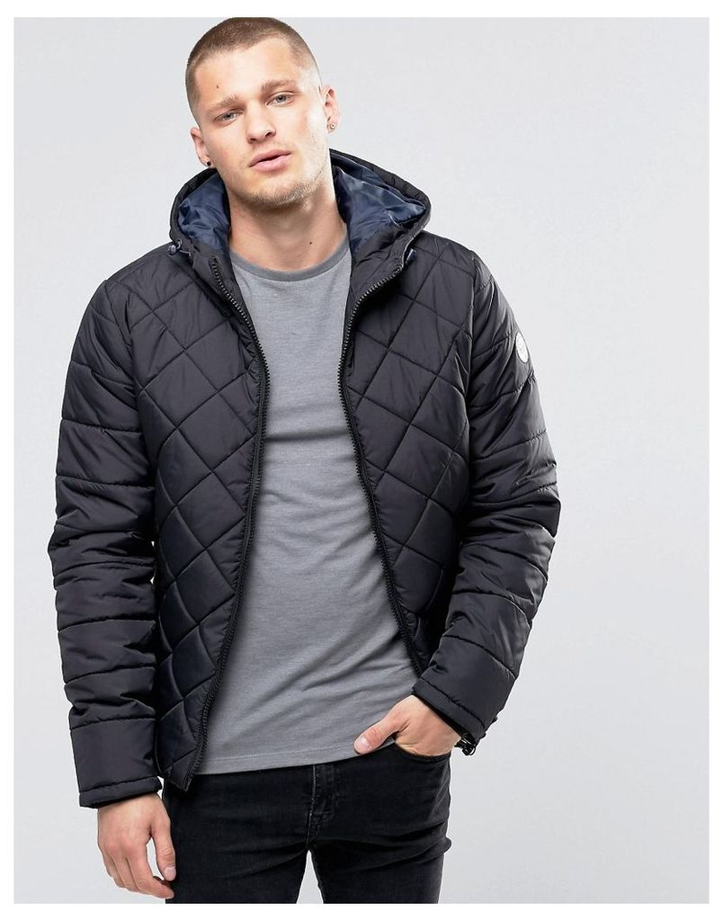 Blend Hooded Quilted Jacket Black - Black
