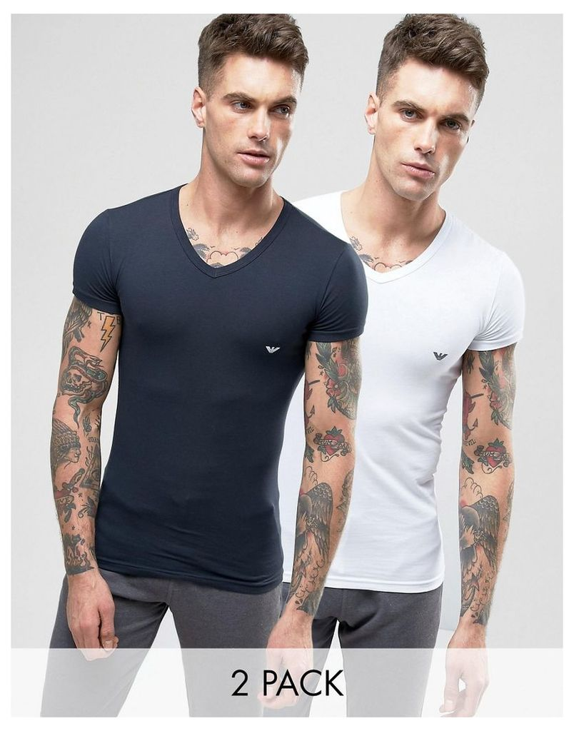 Emporio Armani 2 Pack Stretch Cotton V-Neck T-Shirt In Extreme Muscle Fit - Multi